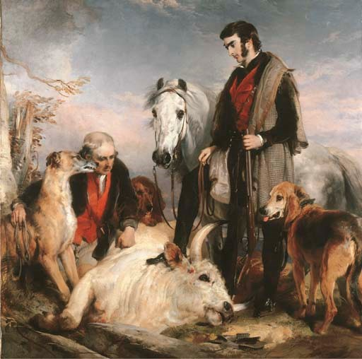 Sir Edwin Henry Landseer, R.A. (1802-1873), Scene in Chillingham Park Portrait of Lord Ossulston, or Death of the Wild Bull. Oil on canvas. 88½ x 88½  in (225 x 225  cm). Sold for £1,271,650 on 19 February 2003 at Christie's in London
