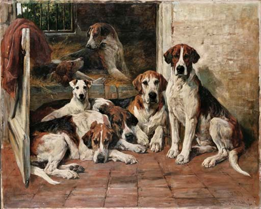 John Emms (1843-1912), Hours of Idleness — Hounds and a Terrier in a Kennel, 1899. Oil on canvas. 40 x 50  in (101.6 x 127  cm). Sold for £397,250 on 21 May 2004 at Christie's in London