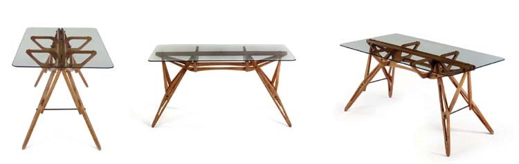 Carlo Mollino (1905-1973), A unique oak and glass table for the Casa Orengo, 1949. 28¾  in (73  cm) high, 61⅞  in (157.2  cm) wide, 33⅞  in (86  cm) deep. Sold for $3,824,000 on 9 June 2005 at Christie's in New York