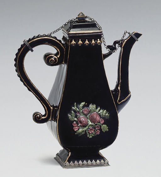 A Böttger black glazed red stoneware silver-mounted baluster coffee-pot and cover, circa 1715. Sold for £120,500 on 11 December 2007 at Christie's in London
