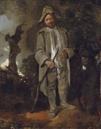 An old peasant with a donkey in a wooded landscape
