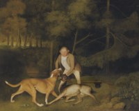 Thomas Freeman, Lord Clarendon's gamekeeper, with a dog and a shot doe in a wooded river landscape, his gun and hat beside him