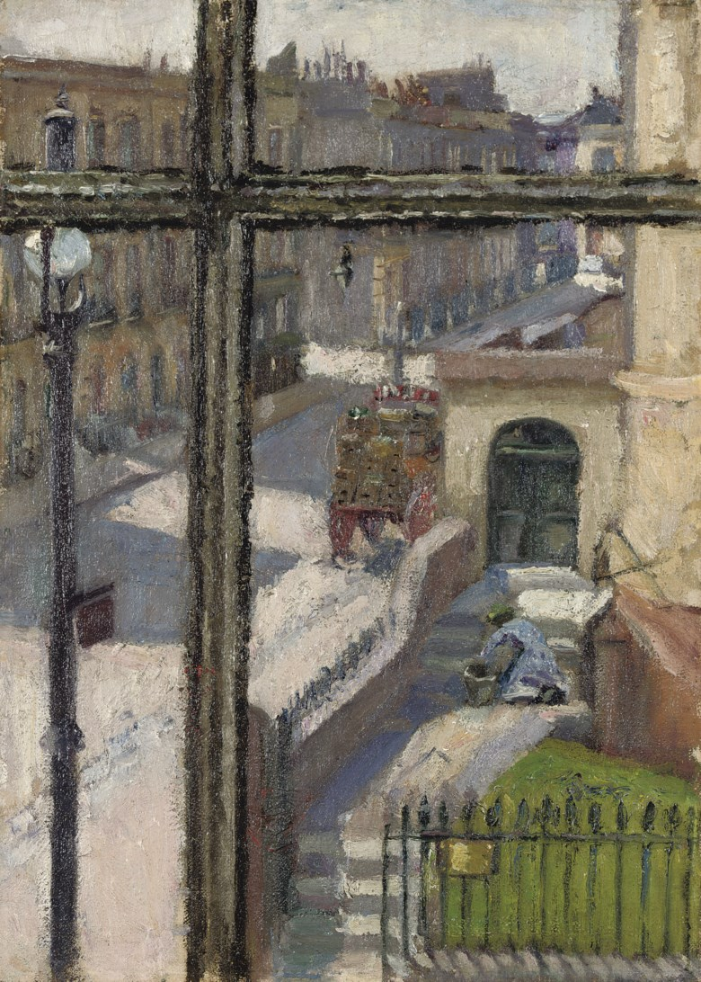 Spencer Frederick Gore (1878-1914), From a Window in the Hampstead Road, 1911. Oil on canvas. 14 x 10  in (35.5 x 25.4  cm). Sold for £115,250 on 18 June 2008 at Christie's in London