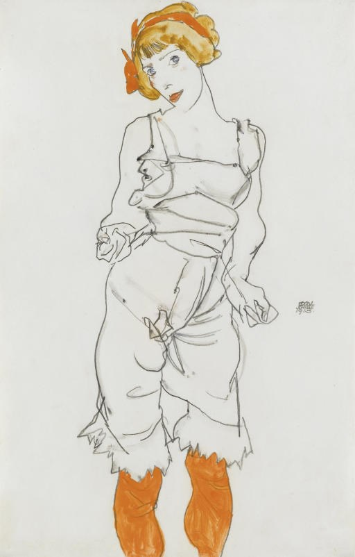 Egon Schiele (1890-1918), Frau in Unterwäsche und Strümpfen (Valerie Neuzil), executed in 1913. 18⅜ x 12¼  in (47.9 x 30.8  cm). Sold for £860,500 on 4 February 2008 at Christie's in London