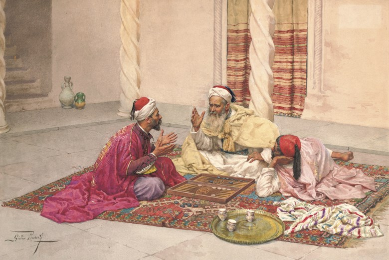 Giulio Rosati (Italian, 1858-1917), Backgammon Players in a Courtyard. Pencil and watercolour on paper. 16⅛ x 23⅜ in (41 x 59.5  cm). Sold for £145,250 on 2 July 2008 at Christie's in London