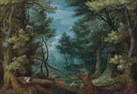 A forest landscape with hunters giving chase to a stag