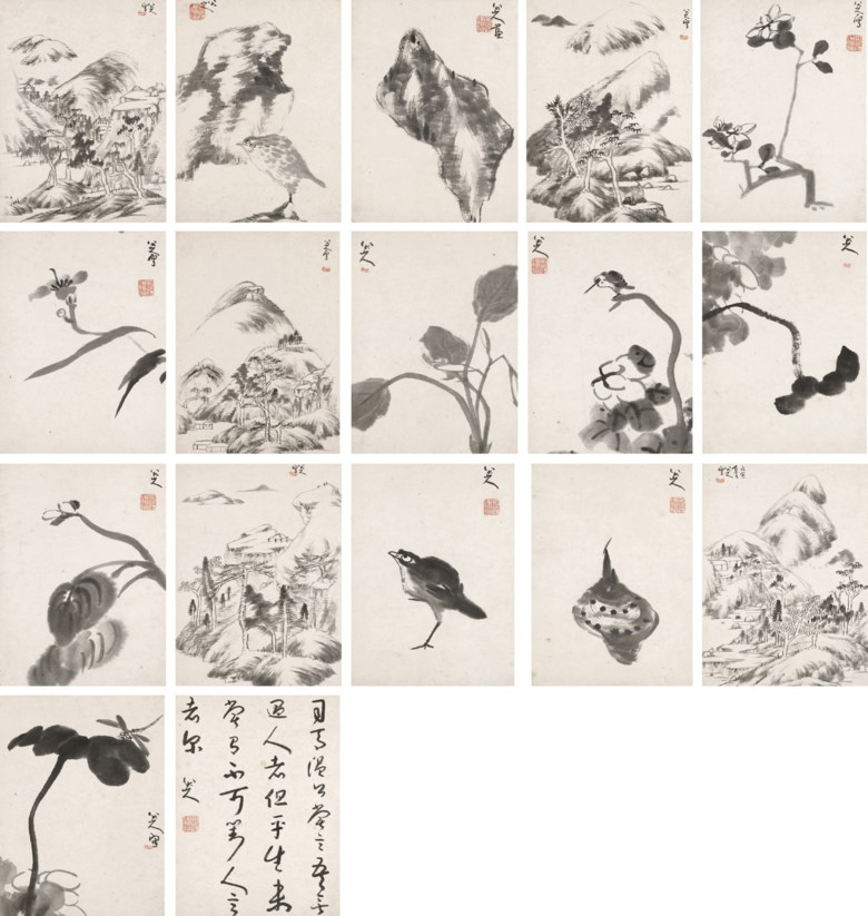 Bada Shanren (1626-1705),Landscapes, Flower, Birds and Rocks, 1698.Album of 17 leaves, 16 of paintings and one of calligraphy, ink on paper. Each leaf measures 29.5 x 21.9 cm (11⅔ x 8⅔ in). Sold for HK$34,260,000 on 2 December 2008 at Christie's in Hong Kong