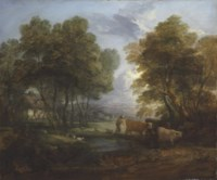 A wooded landscape with a herdsman, cows and sheep near a pool