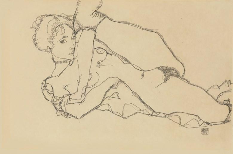 Egon Schiele (1890-1918), Liegender Akt mit angezogenem linken Bein, drawn in 1914. 12½ x 18⅞  in (31.8 x 48  cm). Sold for $1,777,000 on 6 May 2008 at Christie's in New York