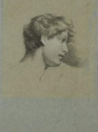 Tête de jeune homme, vue de profil et tournée vers la droite