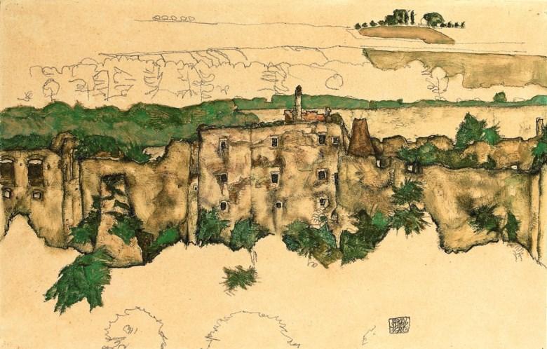 Egon Schiele (1890-1918), Landschaft (Ruine Weitenegg), executed in Weitenegg on 2 July 1916. 11¼ x 17⅞  in (29.2 x 45.6  cm). Sold for £1,127,650 on 24 June 2010 at Christie's in London