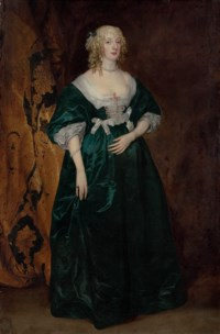 Portrait of Anne Sophia, Countess of Carnarvon (d. 1695), full-length, in a green dress with white silk bows and pearls, and gold-embroidered curtain beyond