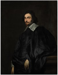 Portrait of a gentleman, traditionally called a Senator of Antwerp, half-length, leaning on a plinth