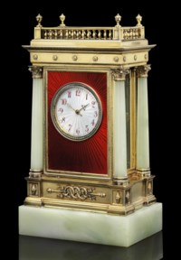 A Silver-Gilt Mounted Guilloché Enamel and Bowenite Clock