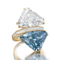 THE BVLGARI BLUE  A TWO-STONE COLORED DIAMOND AND DIAMOND RING, BY BVLGARI