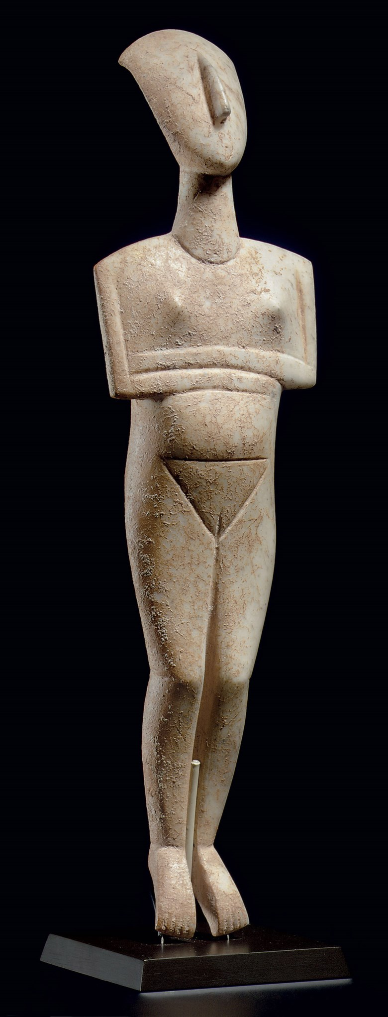 A Cycladic marble reclining female figure, name-piece of the Schuster Master, early Cycladic II, circa 2400 BC.11½  in (29.2  cm) high. Sold for $16,882,500 on 9 December 2010 at Christie's in New York