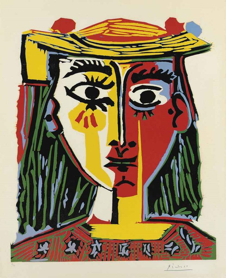 Pablo Picasso (1881-1973), Buste de Femme au Chapeau (B. 1072; Ba. 1318 VBa). Linocut in colours, 1962, on Arches wove paper, signed in pencil, numbered 250 (there were also approximately 20 artist's proofs), published by Galerie L. Leiris, Paris, 1963. Sold for £361,250 on 29 March 2011 at Christie's in London. Artwork © Succession PicassoDACS, London 2019