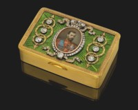 A RARE AND IMPORTANT THREE-COLOUR GOLD AND GUILLOCHÉ ENAMEL IMPERIAL PRESENTATION SNUFF-BOX