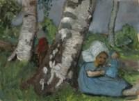 Kind mit Puppe am Birkenstamm sitzend