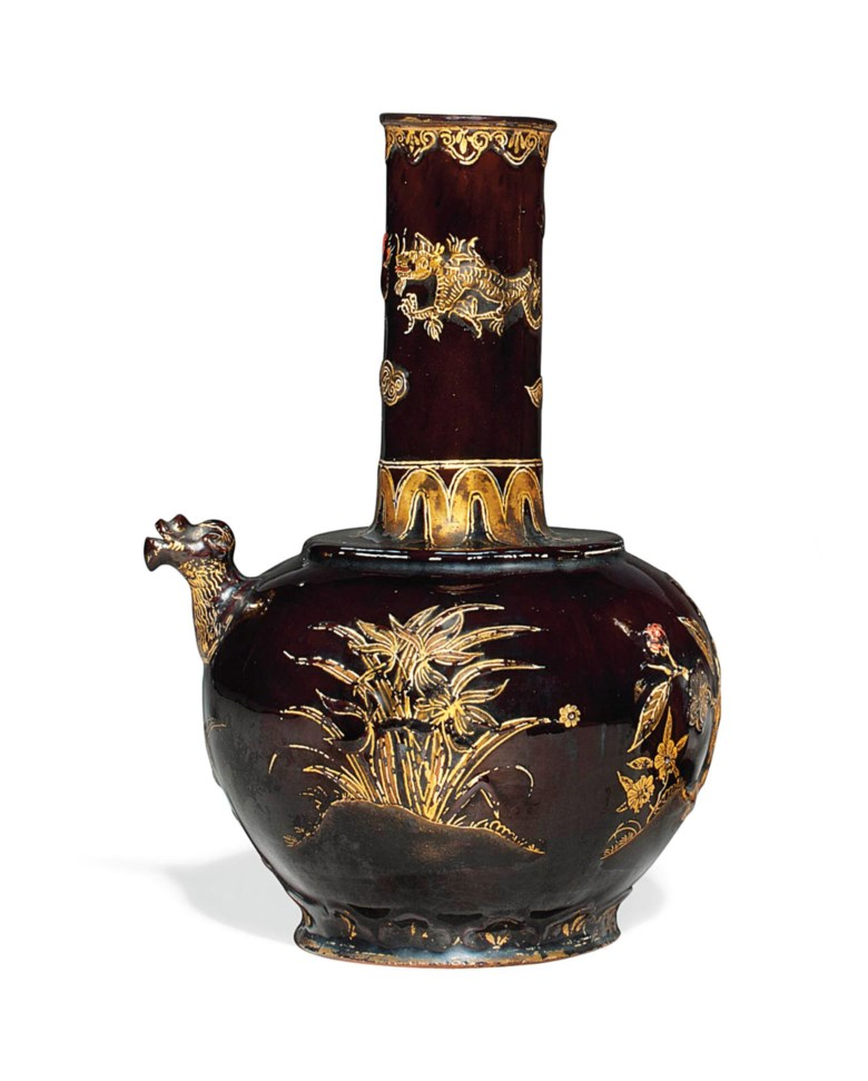 A Böttger black-glazed red stoneware saki ewer or kendi, circa 1710-13. Sold for £55,250 on 29 November 2011 at Christie's in London