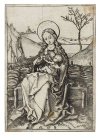 The Virgin and Child on a grassy Bench (B. 30; Lehrs, Holl. 36)