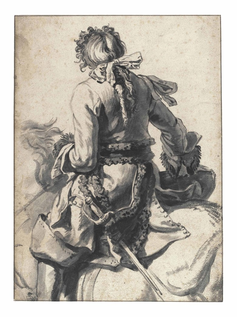 Pieter van Bloemen, called Standaart (1657-1720), A mounted cavalier, seen from behind. 10⅛ x 7½  in (26.5 x 19  cm). Sold for £253,250 on 8 December 2011 at Christie's in London, South Kensington