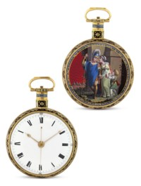 Ilbery, London, NO. 7004  Extremely fine and rare gold and enamel openface manually-wound centre seconds duplex watch, made for the Chinese market, enamel in the manner of Richter