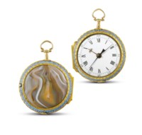John Ilbery, London  Very fine, rare and unusual gold, enamel, agate and diamond-set pair cased openface manually-wound centre seconds stop watch, made for the Chinese Market