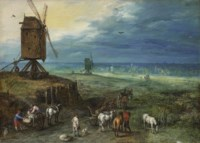 An extensive landscape with figures unloading carts beside a windmill on a knoll
