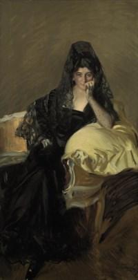 Portrait of Señora de Urcola wearing a black mantilla