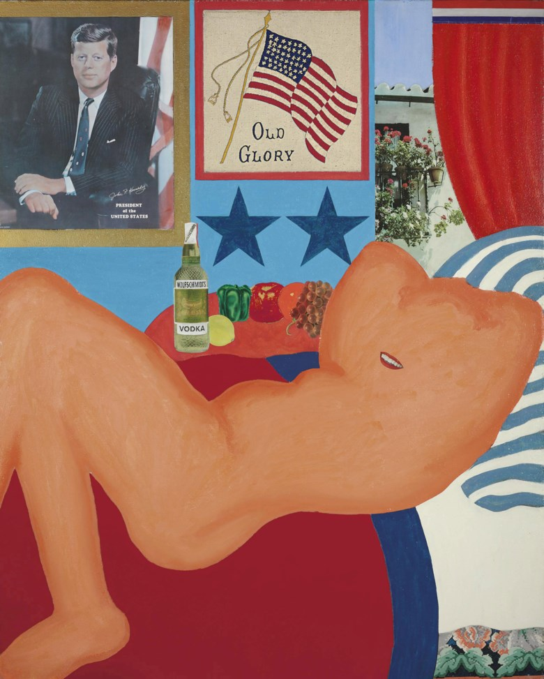 Tom Wesselmann (1931-2004), Great American Nude # 21, executed in 1961. Casein, enamel, graphite, printed paper, fabric, linoleum and embroidery on board. 60 x 48 in (152.4 x 121.9 cm). Sold for $3,330,500 on 11 May 2011 at Christie's in New York. Artwork © Estate of Tom WesselmannVAGA at ARS, NY and DACS, London 2020