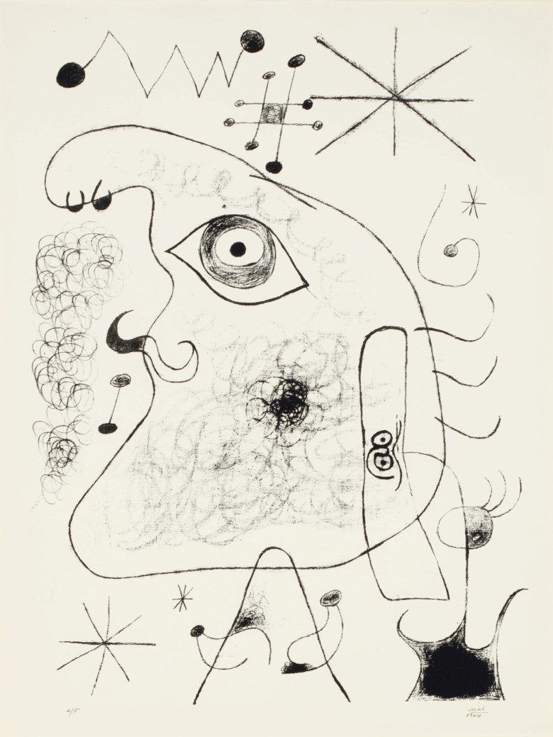 Joan Miró, Barcelona XXXV, from Barcelona Series (M. 40), 1944. Lithograph, on Torras Juvinya, signed and dated in pencil. S 27½ x 20¾ in (699 x 527 mm). Sold for $15,000 on 25-26 October 2011 at Christie's in New York.© Successió Miró  ADAGP, Paris and DACS London 2020