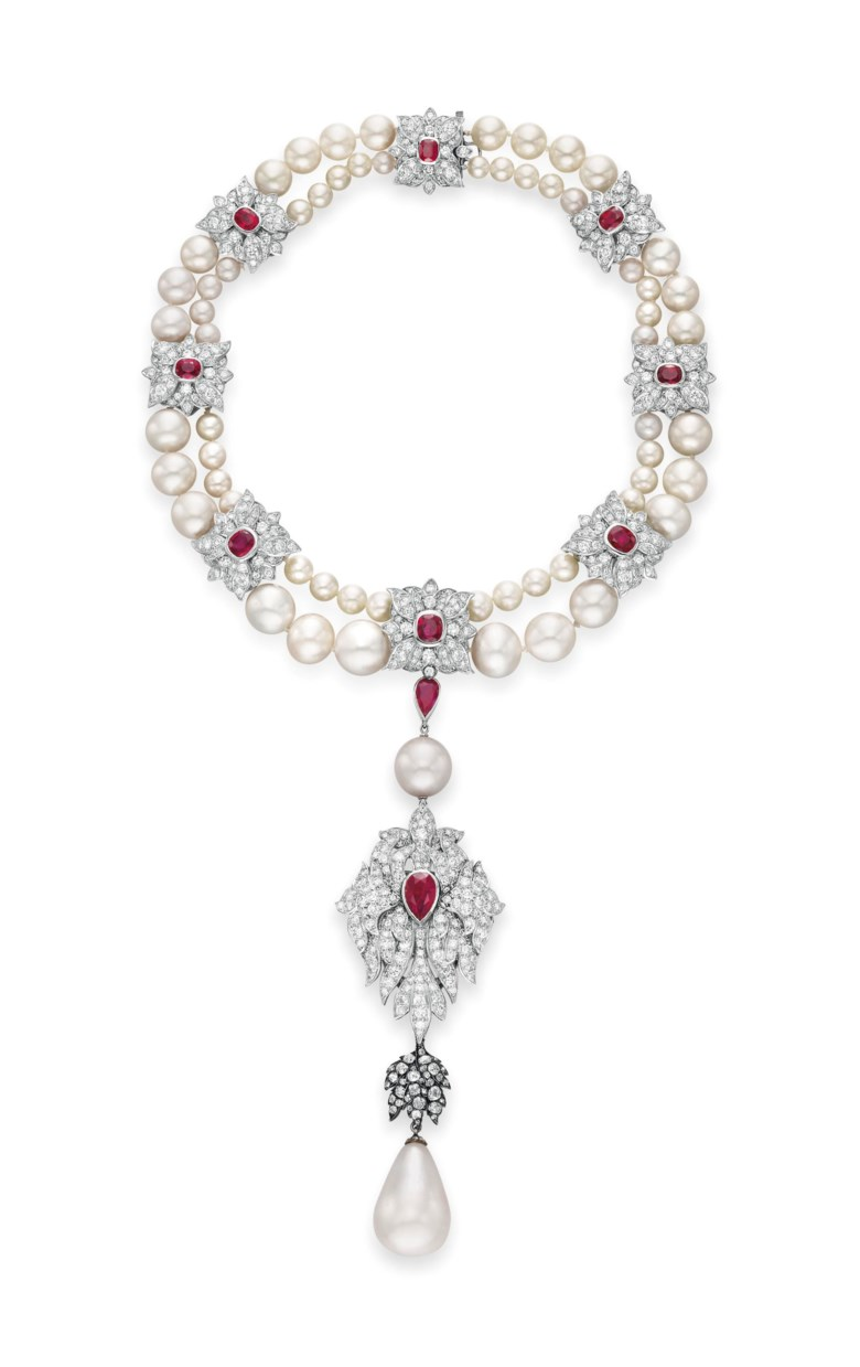A natural pearl, diamond, ruby and cultured pearl necklace, by Cartier. Sold for $11,842,500 on 13 December 2011 at Christie's in New York