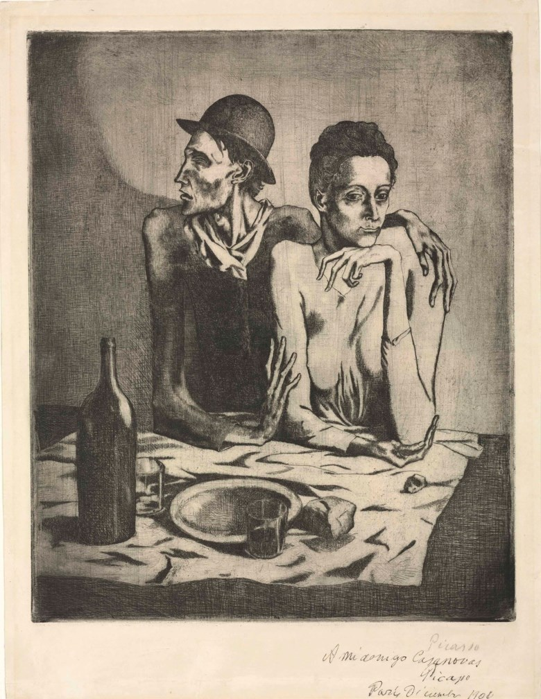 Pablo Picasso (1881-1973), Le repas frugal, etched and printed in 1904. Sheet 21⅝ x 16⅝ in (54.9 x 42.2 cm). Sold for £1,945,250 on 20 June 2012 at Christie's in London. Artwork © Succession PicassoDACS, London 2019
