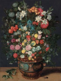 Lilies, irises, tulips, roses, orchids, primroses, peonies and other flowers in a sculpted vase decorated with the figures of Amphitrite and Ceres, with a branch of flowers, a stag beetle and other insects