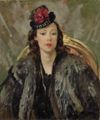 Portrait of Poppet, the artist's daughter, in a black hat