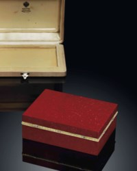AN IMPORTANT JEWELLED TWO-COLOUR GOLD-MOUNTED PURPURINE BOX