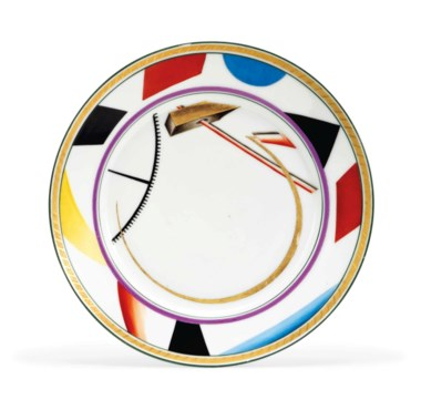 A Soviet propaganda porcelain plate, by the Imperial Porcelain Factory, St Petersburg and the State Porcelain Factory, Petrograd, 1921. Painted after a design by Sergei Tchekhonin. Diameter 9½  in (24.2  cm). Sold for £27,500 on 3 June 2013 at Christie's in London