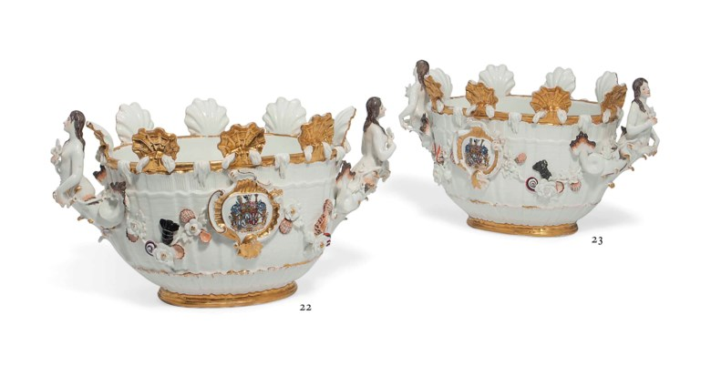 A Meissen armorial oval monteith from the Swan Service, circa 1740, blue crossed swords mark, pressnummer 28. 8  in (20.4  cm) high, 15  in (38.1  cm) wide. Sold for £151,875 on 4 June 2013 at Christie's in London