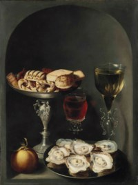 Oysters on a pewter plate, sweetmeats and biscuits in a silver tazza, two façon-de-venise wine glasses and an orange in a niche