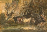 A wooded landscape with cattle at a watering place