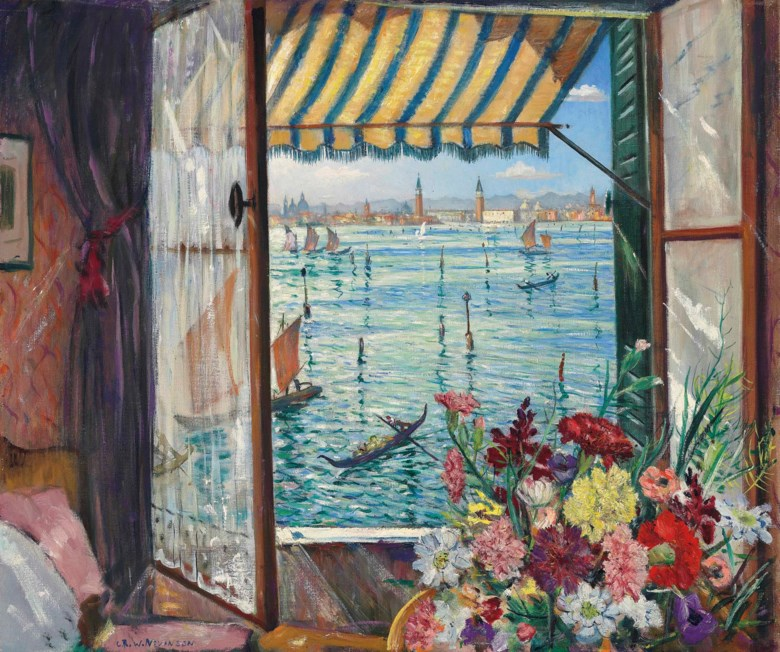 Christopher Richard Wynne Nevinson, A.R.A. (1889-1946), From a Venetian Window, 1934. Oil on canvas. 25½ x 30½  in (64.8 x 77.4  cm). Sold for £100,900 on 20 November 2013 at Christie's in London