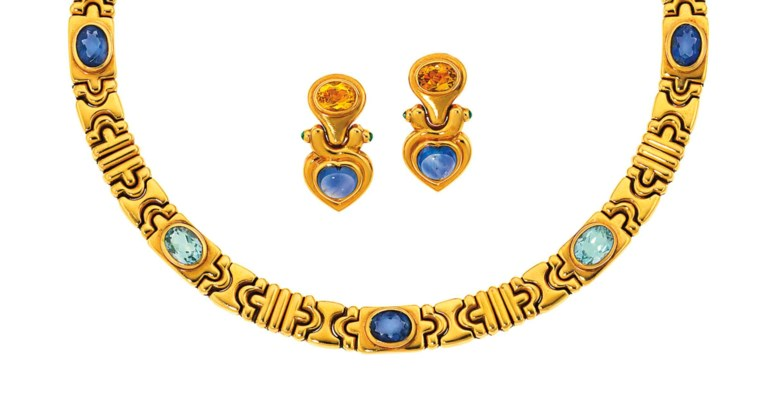 A gem-set 'Parentesi' necklace and a pair of gem-set earrings, by Bulgari. Sold for £6,875 on 16 April 2013 at Christie's in London, South Kensington