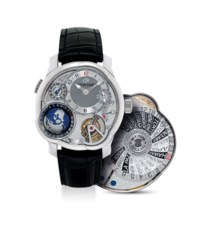 GREUBEL FORSEY. A VERY FINE, IMPRESSIVE AND VERY RARE 18K WHITE GOLD 25 INCLINED 24 SECONDS TOURBILLON DUAL TIME ZONE WORLD TIME ASYMMETRICAL WRISTWATCH WITH POWER RESERVE AND 3D GLOBE