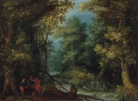 Hunters with hounds by a stream in a wooded landscape