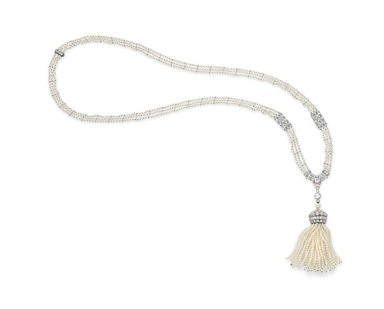 An Art Deco seed pearl and diamond sautoir, by Raymond Yard. Sold for $87,500 on 10 December 2013 at Christie's in New York