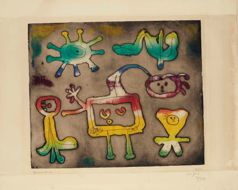 Joan Miró, One plate from Serie I, 1947. Etching printed with monotype colouring, on wove paper. P 378 x 452 mm, S 510 x 660 mm. Sold for £23,750 on 17 September 2014 at Christie's in London.© Successió Miró  ADAGP, Paris and DACS London 2020