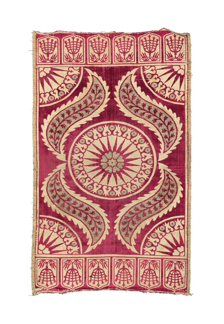 A silk velvet and metal thread woven çatma, Turkey, 17th century. 41½ x 25 in (105.5 x 63.4 cm). Sold for £11,875 on 9 October 2014 at Christie's in London