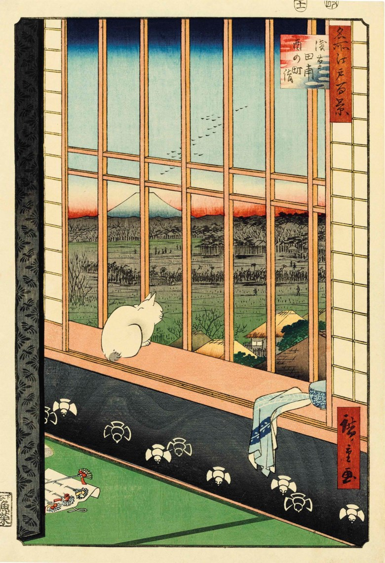 Utagawa Hiroshige (1797-1858), Asakusa-Tanbo, Torinomachi-mode (Asakusa Rice Fields During the Cock Festival), from the series Meisho Edo hyakkei (One Hundred Views of Famous Places of Edo). Colour woodcuts. Oban tate-e 14.8 x 9⅝ in (35.8 x 24.5 cm); 13⅝ x 9 in (34.6 x 22.9 cm)	 (2). Sold for $40,000 on 18 March 2014 at Christie's in New York