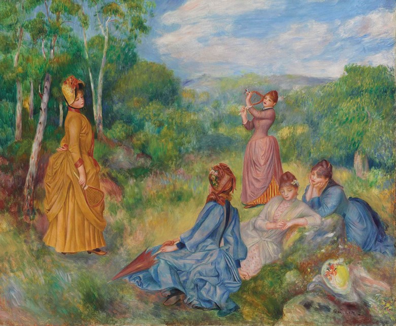 Pierre-Auguste Renoir (1841-1919), Jeunes filles jouant au volant, painted circa 1887. 21½ x 25⅝  in (54.6 x 65.2  cm). Sold for $11,365,000 on 6 May 2014 at Christie's in New York